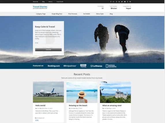 Travel Diaries - WordPress theme